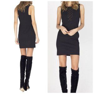 UO GENTLE FAWN Crochet Panel Black Mini Dress